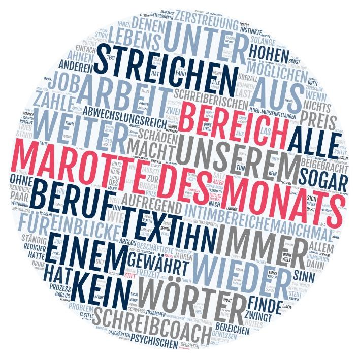 Wortwolke, in der die Worte Bereich und Marotte des Monats hervorgehoben sind