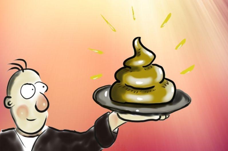 Eine Cartoon-Figur präsentiert stolz auf einem Silbertablett einen strahlenden und wohlgeformten Haufen Scheiße.