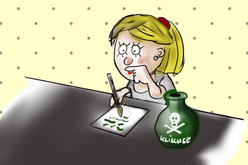 """Cartoon-Figur Olivia beim Schreiben. Neben ihr ein Tintenfass mit Totenkopf und der Aufschrift """"Klischee"""""""